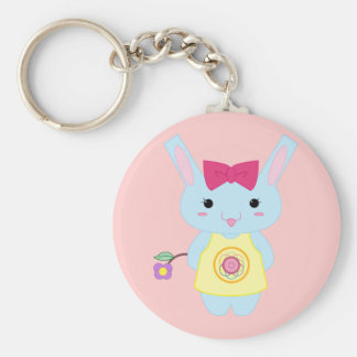 Cute Bunny Basic Round Button Key Ring