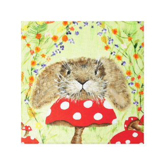 Cute Bunny peeping over Toadstool Canvas
