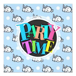 Cute Bunny Rabbit; Baby Blue & White Polka Dots 13 Cm X 13 Cm Square Invitation Card