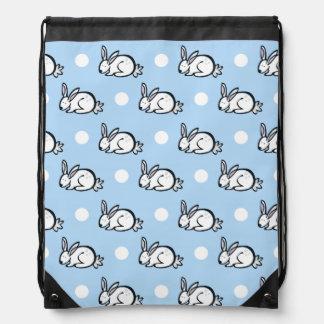 Cute Bunny Rabbit; Baby Blue & White Polka Dots Drawstring Bag