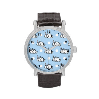 Cute Bunny Rabbit; Baby Blue & White Polka Dots Watches