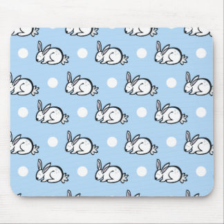 Cute Bunny Rabbit; Baby Blue & White Polka Dots Mouse Pad
