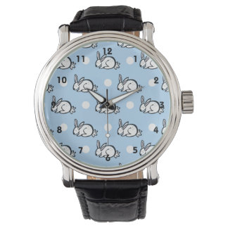 Cute Bunny Rabbit; Baby Blue & White Polka Dots Watch
