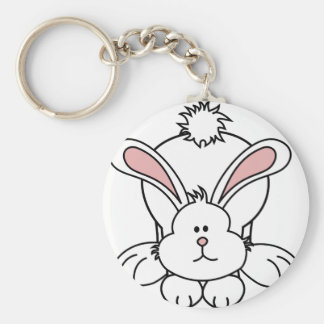 Cute Bunny Rabbit Basic Round Button Key Ring