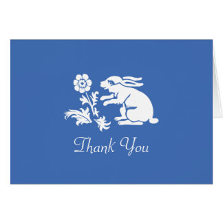 Cute Bunny Rabbit Blue and White Spring or Easter Greeting Card