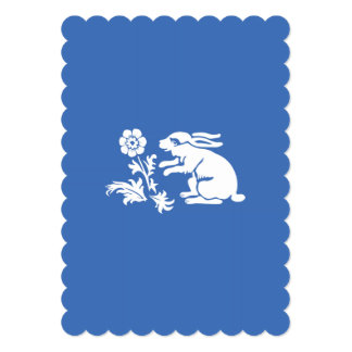 """Cute Bunny Rabbit Blue and White Spring or Easter 5"""" X 7"""" Invitation Card"""