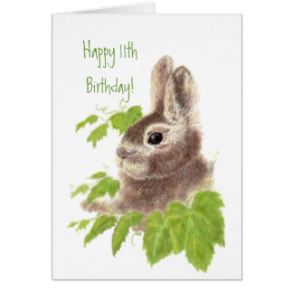 Cute Bunny Rabbit Child's 11th Birthday Animal Card