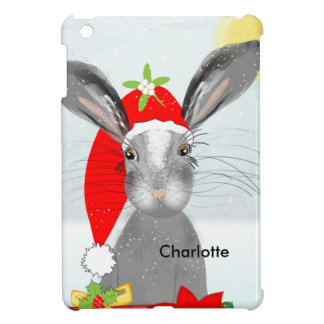 Cute Bunny Rabbit Christmas Holiday Theme iPad Mini Case