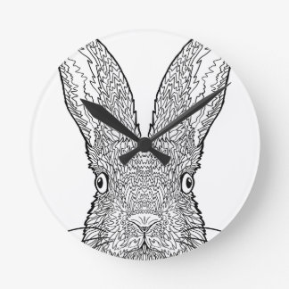 Cute Bunny Rabbit Design Round Clock