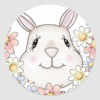 Cute Bunny Rabbit Flowers & Butterflies Round Sticker