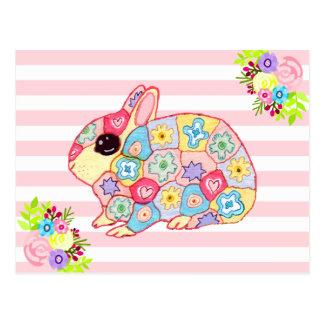 Cute Bunny Rabbit Flowers Pink Stripe Hoppy Easter Postcard