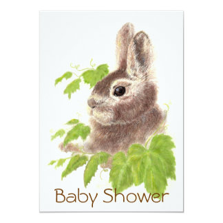 Cute Bunny Rabbit, Garden Animal Baby Shower Card