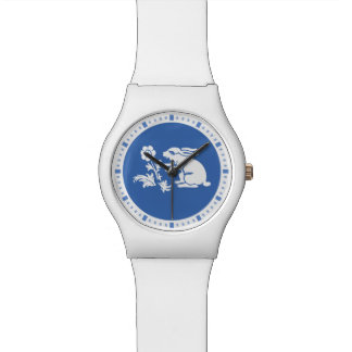 Cute Bunny Rabbit in Blue and White Wristwatches