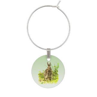 Cute Bunny Rabbit in Grass Wine Charm