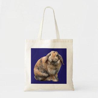 Cute bunny rabbit lop-eared tote bag, gift idea budget tote bag