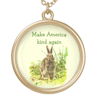 Cute Bunny Rabbit Make America Kind Again Necklace