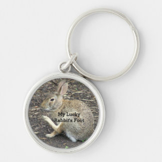 """CUTE BUNNY RABBIT, ""MY LUCKY RABBIT'S FOOT"" Silver-Colored ROUND KEYCHAIN"