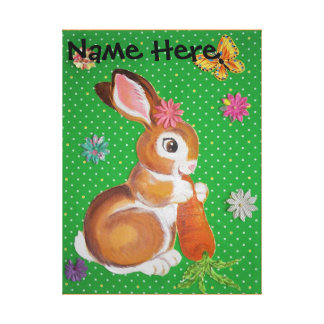 Cute Bunny Rabbit Nursery Kid Wall Art Personalize