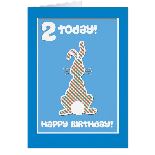 Cute Bunny Rabbit  on Blue 2nd Birthday Greeting Card