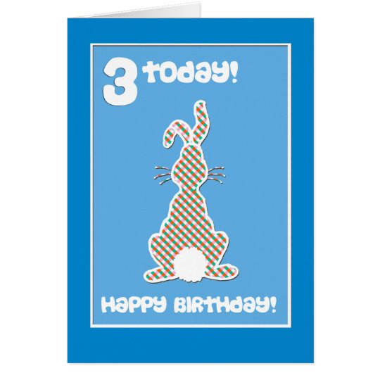 Cute Bunny Rabbit  on Blue 3rd Birthday Greeting Card