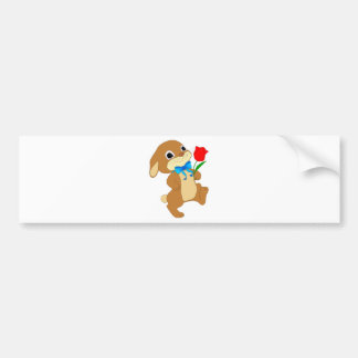 Cute Bunny Rabbit with Bow Tie Walking w/ Red Rose Bumper Sticker