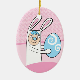 Cute bunny rabbit with Easter egg Christmas Tree Ornaments