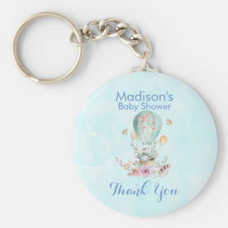 Cute Bunny Riding in a Hot Air Balloon Baby Shower Key Ring