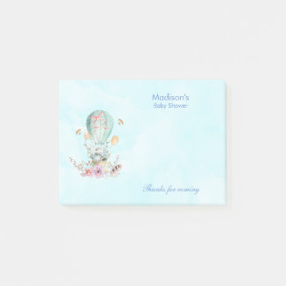 Cute Bunny Riding in a Hot Air Balloon Baby Shower Post-it Notes