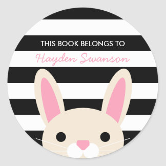 Cute Bunny | This Book Belongs To Round Sticker