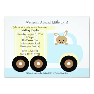 "Cute Bunny Truck Boy Baby Shower Invitation 5"" X 7"" Invitation Card"