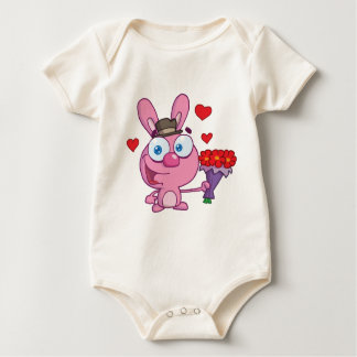 Cute Bunny With Flowers Baby Bodysuit