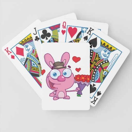 Cute Bunny With Flowers Bicycle Card Deck