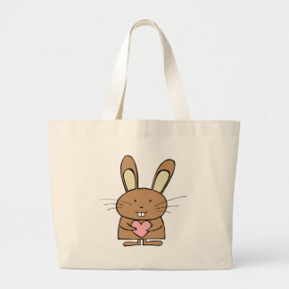 Cute Bunny with Heart Tote Bags