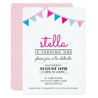 CUTE BUNTING 1ST birthday party INVITE pink blue