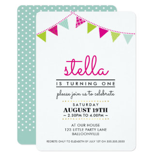 CUTE BUNTING 1ST birthday party INVITE pink mint