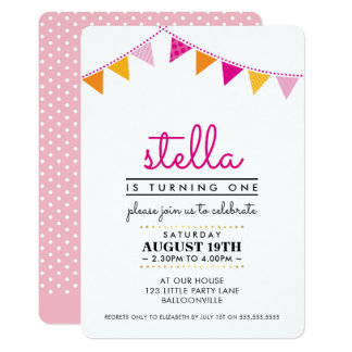 CUTE BUNTING 1ST birthday party INVITE pink orange