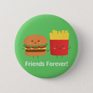 Cute Burger and Fries Friends Forever 6 Cm Round Badge