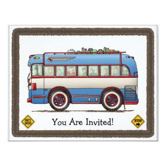 Cute Bus Tour Bus 11 Cm X 14 Cm Invitation Card