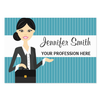 Cute Business Woman Illustration With Black Hair Pack Of Chubby Business Cards