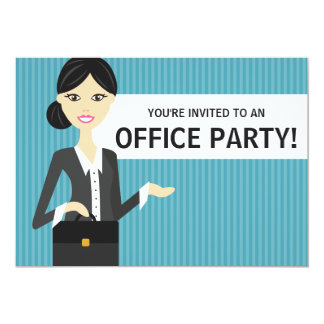 Cute Business Woman With Black Hair Office Party 13 Cm X 18 Cm Invitation Card