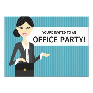 Cute Business Woman With Black Hair Office Party Announcements