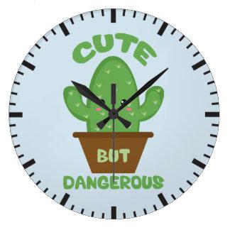 Cute But Dangerous - Kawaii Cactus - Funny Large Clock