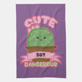 Cute But Dangerous - Kawaii Cactus - Funny Tea Towel