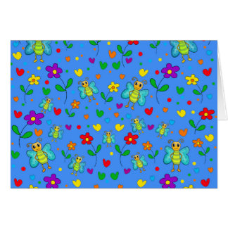 Cute butterflies and flowers pattern - blue card