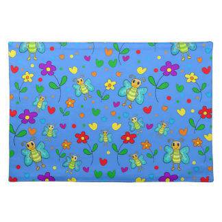Cute butterflies and flowers pattern - blue place mat