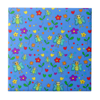 Cute butterflies and flowers pattern - blue small square tile