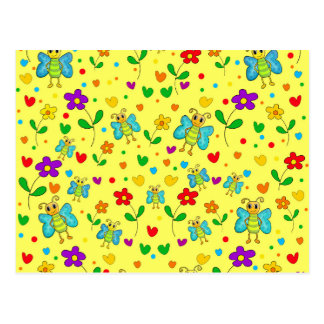 Cute butterflies and flowers pattern - yellow postcard