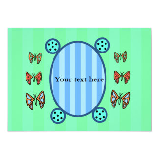 """Cute butterflies on light green and blue stripes 5"""" x 7"""" invitation card"""
