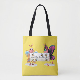 Cute Butterflies - Save Our Bee Friends Tote Bag