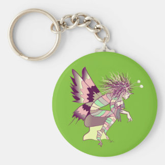 Cute Butterfly Cartoon Fantasy Round Green Basic Round Button Key Ring